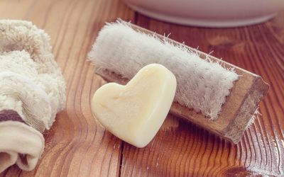 Wash brush and heart shaped soap 400x250